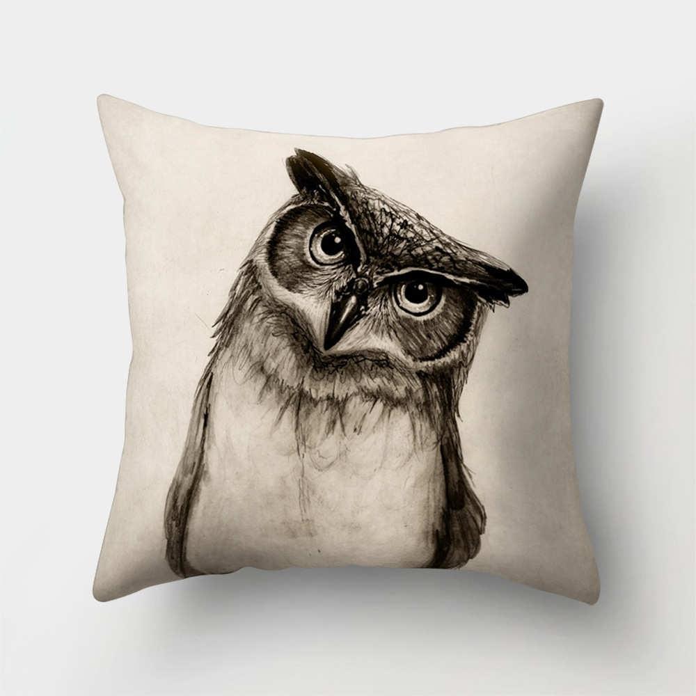 1Pcs Owl Deer Elephant Polyester Throw Pillow Living Room Cushion Cover Car Home Decoration Sofa Decorative Pillowcase 40513