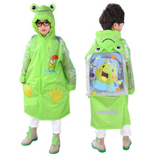 2018 new design Green frog girls boys raincoat Kids rain jacket rainwear impermeables students Rain suit with school bag