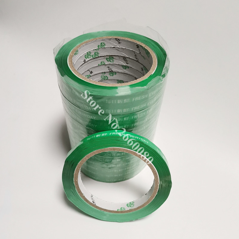 10pcs Bag Seal Stickytape 80m Length 11mm Width Green Fresh Keeping Bag Sealing Tape For Vegetable Fruit Bread
