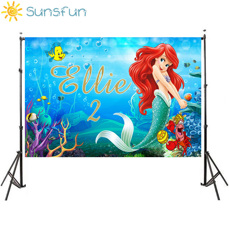 Sunsfun Under Sea Party Vinyl Photography Background Cartoon Characters Little Mermaid Children Backdrops For Photo Studio