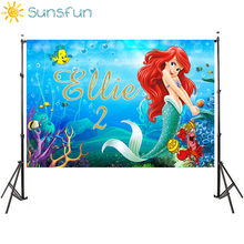 Sunsfun Under Sea Party Vinyl Photography Background Cartoon Characters Little Mermaid Children Backdrops for Photo Studio(China)