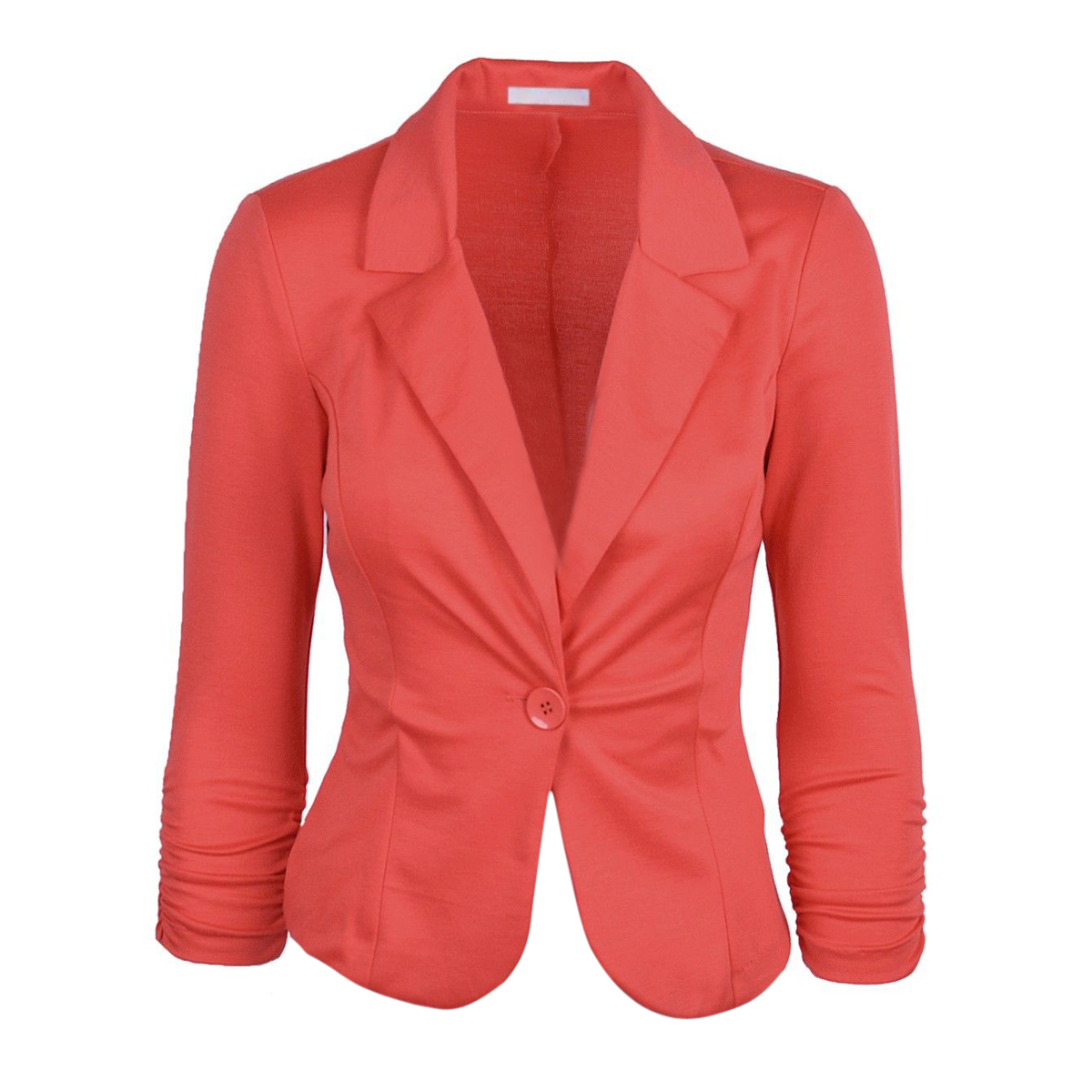 2018 NEW Womens Blazer Jacket Long Sleeve Candy Button Coral