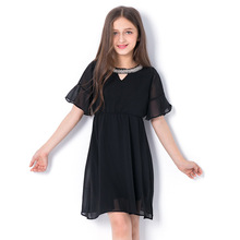 2018 Summer Princess Chiffon Dress for Girl Diamond Children Dresses Black Short Sleeve Vestidos Clothes Age 6789 10 12