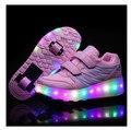 Crianças sapatos com duas rodas LED Glowing Tênis para crianças Rolo sapatos de Skate Meninos meninas iluminar sapatos rosa preto tamanho 28-43