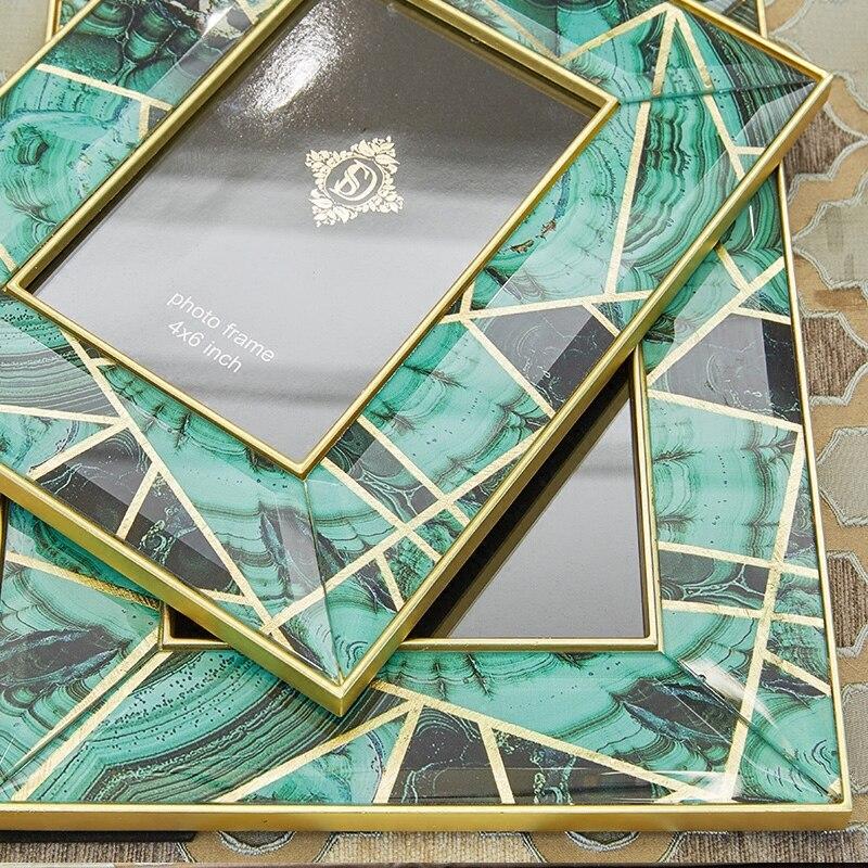 Grand-mère vert agate pierre motif Phnom Penh créatif verre cadre photo ensemble table modèle européen décoration