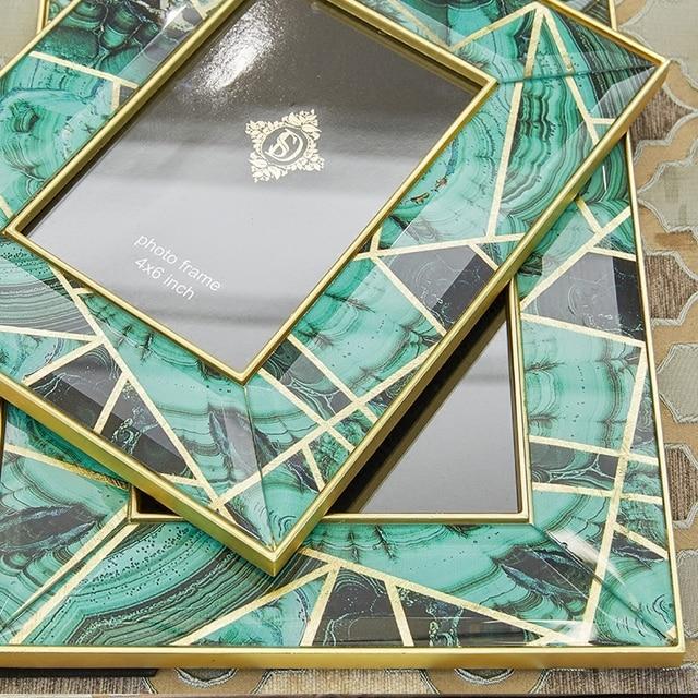 Grandmother green agate stone pattern Phnom Penh creative glass photo frame set table European model decoration