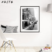 Vintage Llama Poster Black White Alpaca in the Taxi Canvas Art Print Wall Painting Decoration Picture Modern Living Room Decor(China)
