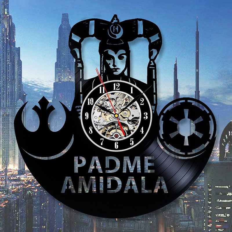 Padme Amidala Star Wars Fan Art Wall Clock Decor Vintage Black Vinyl Gift Room Wedding Party LED with 7colors