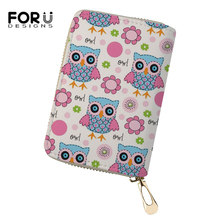 FORUDESIGNS Cartoon Women Business PU Card Holder Fashion Kawaii Animal Girls Money Purses Cute Owl Prints Pattern Cluth Wallets