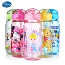 Disney 2018 New baby Water Bottle 400ML With Straw Plastic Drinking Bottles BPA Free Lovely Cartoon Portable Camping bottle