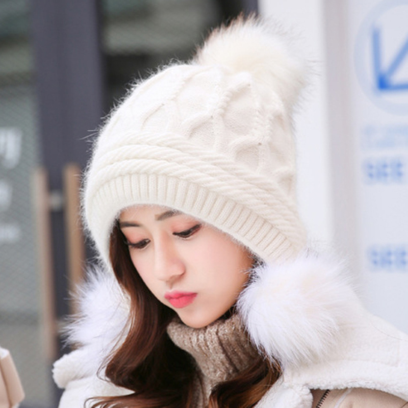 HT2122 High Quality Beanies Rabbit Fur Knitted Hat Women Pompoms Skullies Beanies Thick Warm Fleece Lined Winter Hat Earflap Cap