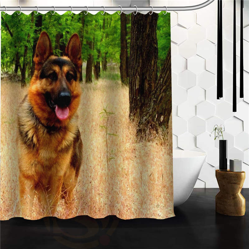 "Free Shipping Polyester Shower Curtain Waterproof Print Cute animal German Shepherd Dog Decorative Bathroom Screen 66x72"" 60x72"""