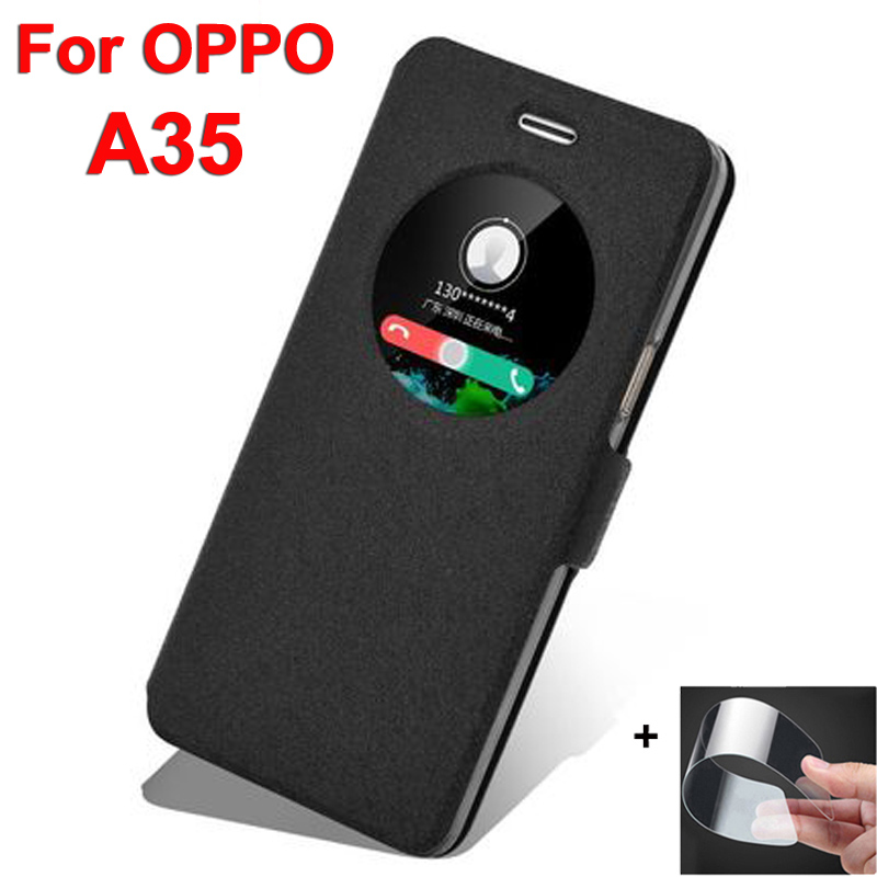 Open window leather <font><b>case</b></font> For <font><b>OPPO</b></font> <font><b>A35</b></font> phone <font><b>cases</b></font> 5.0