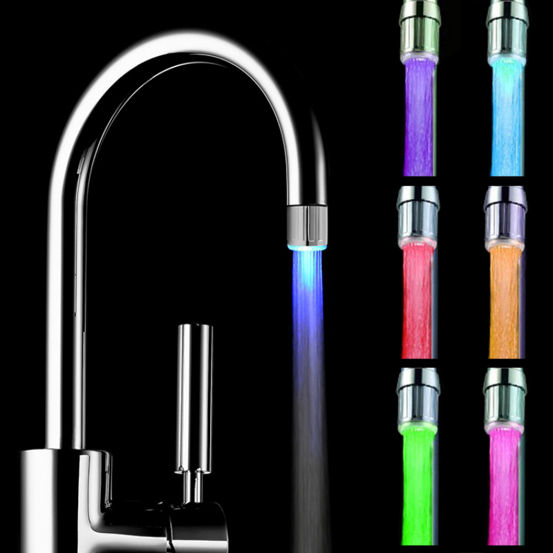 7 Colors Changing Glow LED Light Water Stream Faucet Tap