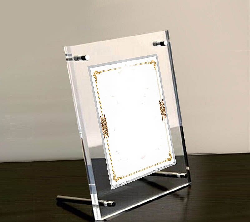 gt3166 a4 plastic acrylic family photo frame 33mm thickness plexiglass display holder with metal screw clear stand