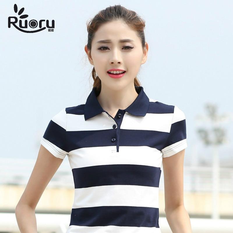 Ruoru M-6XL High Quality Slim Women Cotton Polo Lapel Striped Shirt Summer Casual Ladies Fashion