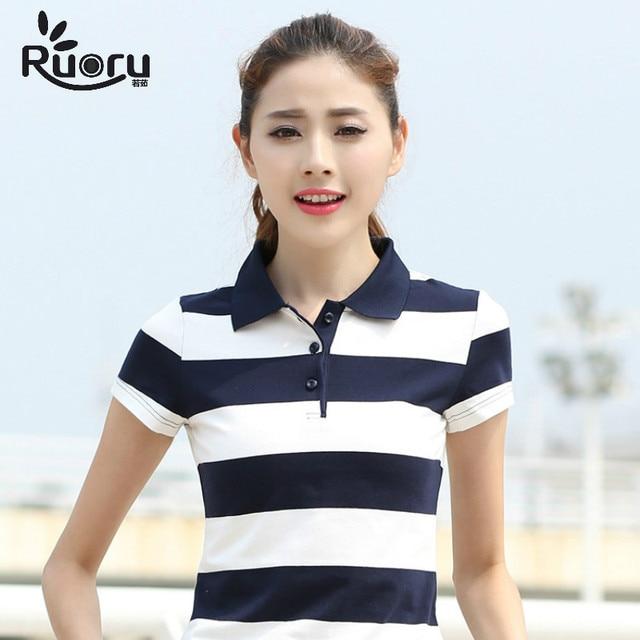 12e5adecc1123 Ruoru M-6XL High Quality Slim Women Cotton Polo Lapel Striped Polo Shirt  Women Summer
