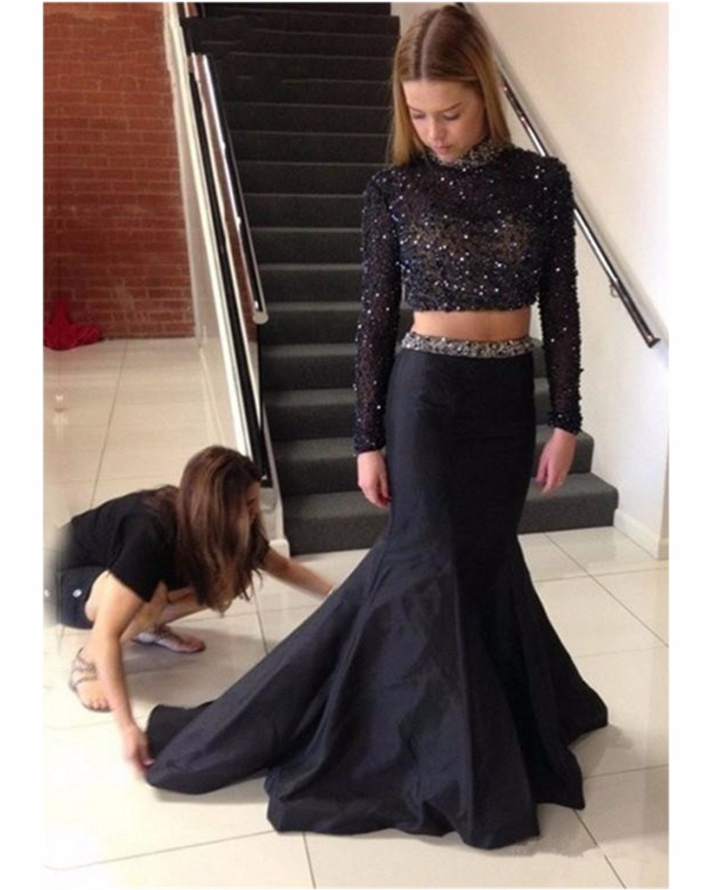 7112dad1b04 Two Piece Set Prom Gown Beautiful Beaded Mermaid Stain Evening Graduation  Dress Floor Length Wedding Party Dress