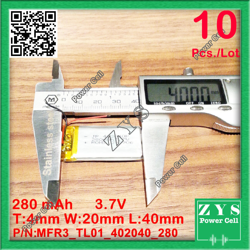 10pcs./Lot 402040 3.7V 280mah Lithium polymer Battery with Protection Board For PDA Tablet PCs Digital Products 280 mAh 4x2040mm best battery brand size 834370 3 7v 3200mah lithium polymer battery with protection board for pda tablet pcs digital products fr