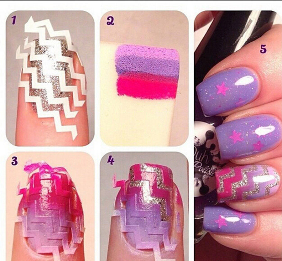 15pcs French Nail Art Stickers Design Zig Zag Tips Decal White