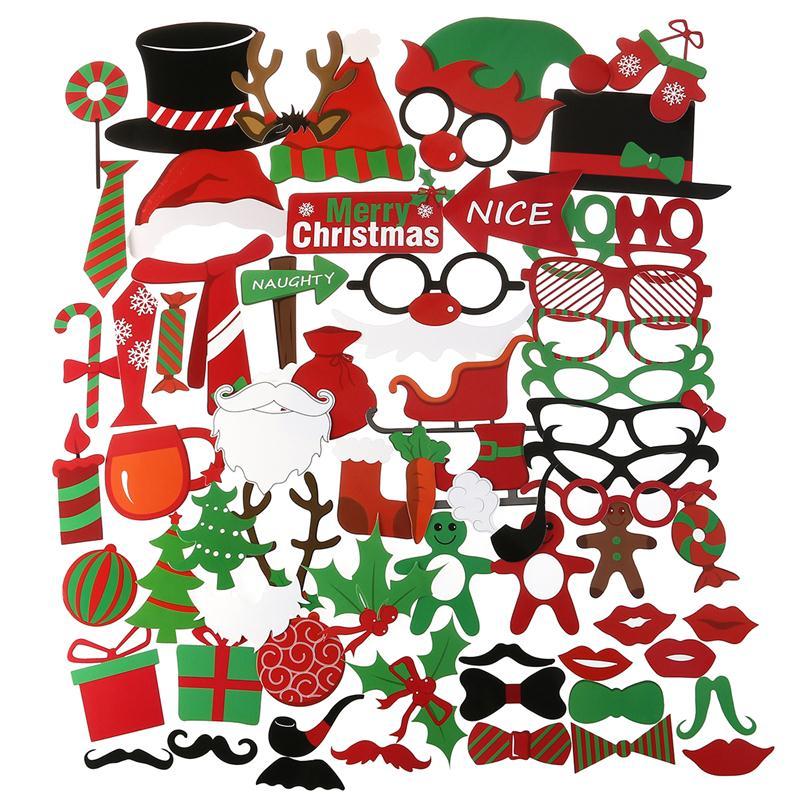 Photo Booth Weihnachten.Us 11 0 41 Off 62 Stucke Frohe Weihnachten Photo Booth Props Weihnachtsfeier Zubehor Fur Atmospharische Und Lustige Bilder Zu Weihnachten Zeit In