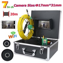 20M/30M/40M/50M 7inch WiFi Wireless17mm Industrial Pipe Sewer Inspection Video Camera System  IP68 Waterproof 1000 TVL