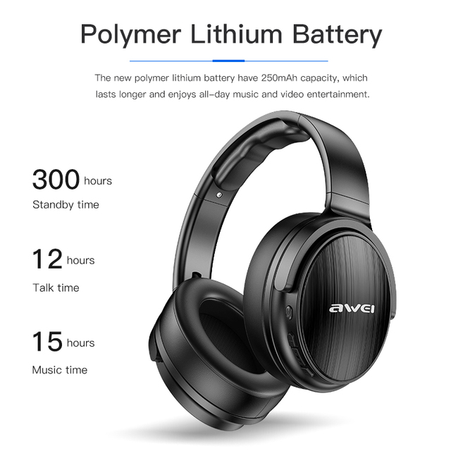 AWEI Budget Bluetooth V5.0 Gaming Headphone Stereo Headset AAC Noise Cancelling With Mic Support TFcard 3