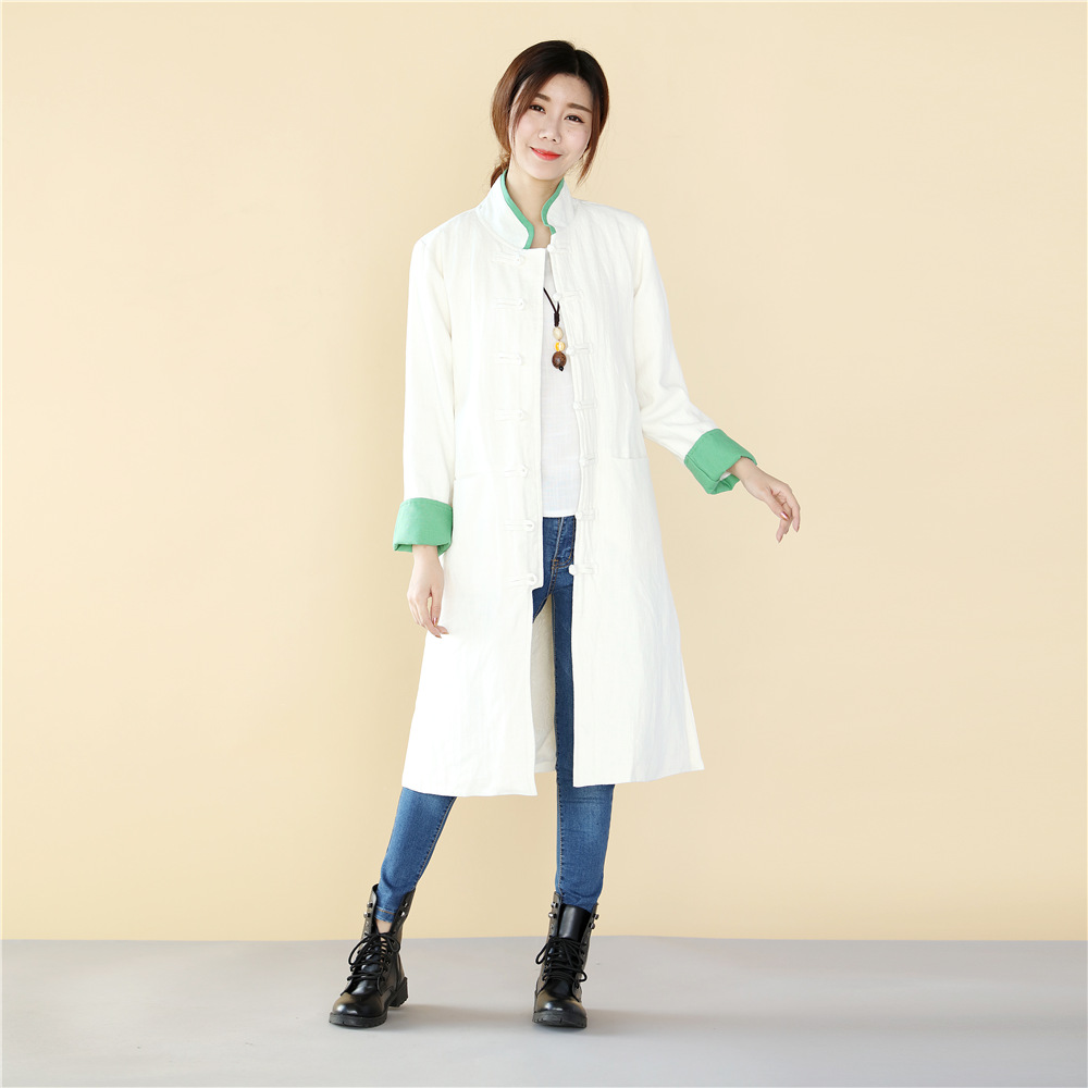 Spring Chinese Retro style Long length Linen jacket flax cotton Comfortable fabric Clothes long gown Original Coat Robe Outwear in Tops from Novelty Special Use