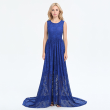 2017 Summer New Fashion Lace Dress Women Solid Color Patchwork Evening Long Dress Sleeveless O Neck Blue Maxi Dress