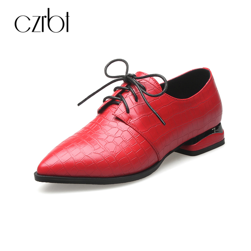 CZRBT Spring Popular Square Printing Oxfords Women British Style Pointed Toe Brogue Shoes Womens 100% Leather Flats Autumn Shoes qmn women crystal embellished natural suede brogue shoes women square toe platform oxfords shoes woman genuine leather flats