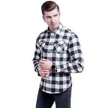 Men's plaid shirt Lattice Casual Long Sleeved Shirts Blouse boy Double Pocket Luxury Stylish Sport Casual Dress loose plusF80(China)