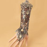 Nieuwe Vintage Party Zwart en Gouden Kant Handschoenen Armbanden Met Imitatie Parels/Mode Dame Feestjurk Accessoires Armband
