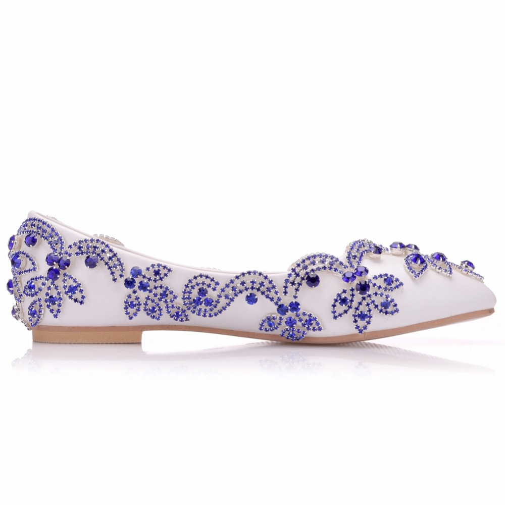 Plat Talon Femmes Bleu Chaussures Blanc Zapatos De Appartements Taille Sexy Femme Mujer 43 Mariage Grande Strass Lady 34 qx41Fpn