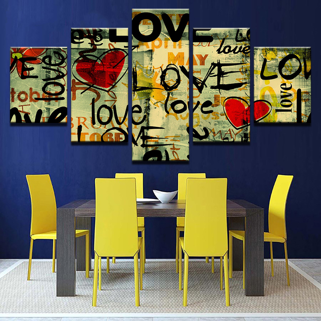 Wall Art Pictures Modern Home Decor Living Room Poster 5 Pieces Love ...