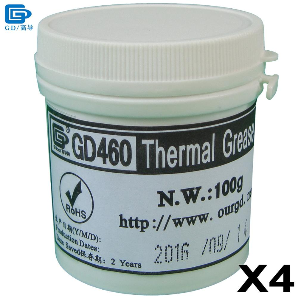 GD460 Thermal Conductive Paste Grease Silicone Plaster Heat Sink Compound 4 Pieces Silver Net Weight 100 Grams For LED CPU CN100 newest 100g thermal conductive grease paste silicone plaster heat sink compound cooling silver net for graphics cpu