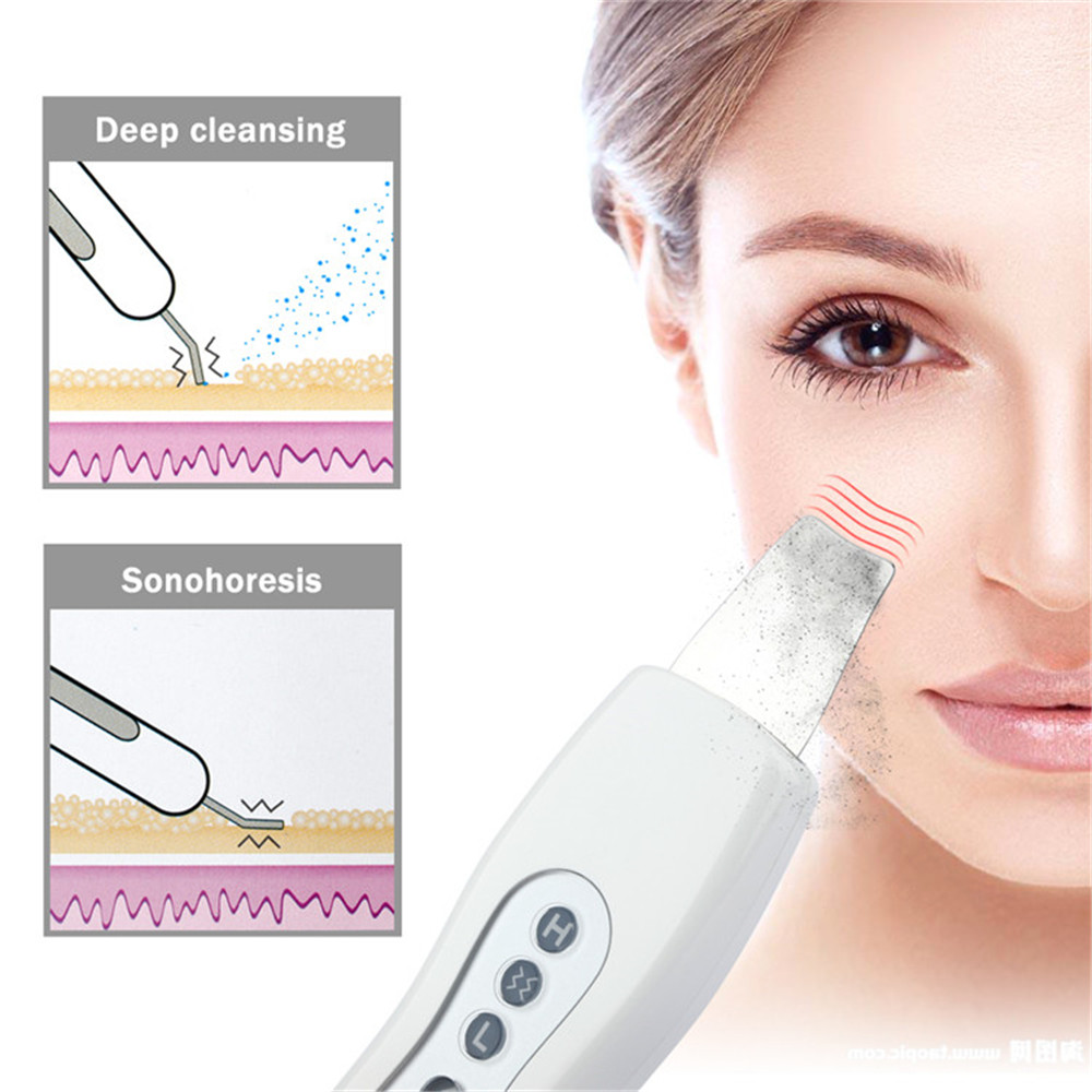 Peeling Shovel Exfoliator Microderm Clean Machine Ultrasonic Facial Skin Scrubber Acne Removal Vibration Face Massager Feecy цена 2017