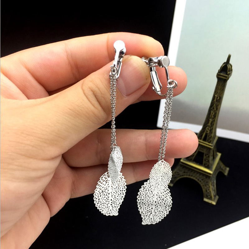 Grace Jun Top Quality Double Leaf Tassel Clip on  Earrings Wihtout Piercing for Women Party Wedding Charm Earrings Bijouterie
