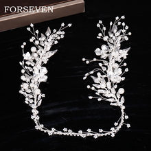 Pearl Silver Flower Headband Bride Hair Jewelry Tiaras and Brides Headpieces Leaf Flower Head Accessories Women Forehead Jewelry(China)