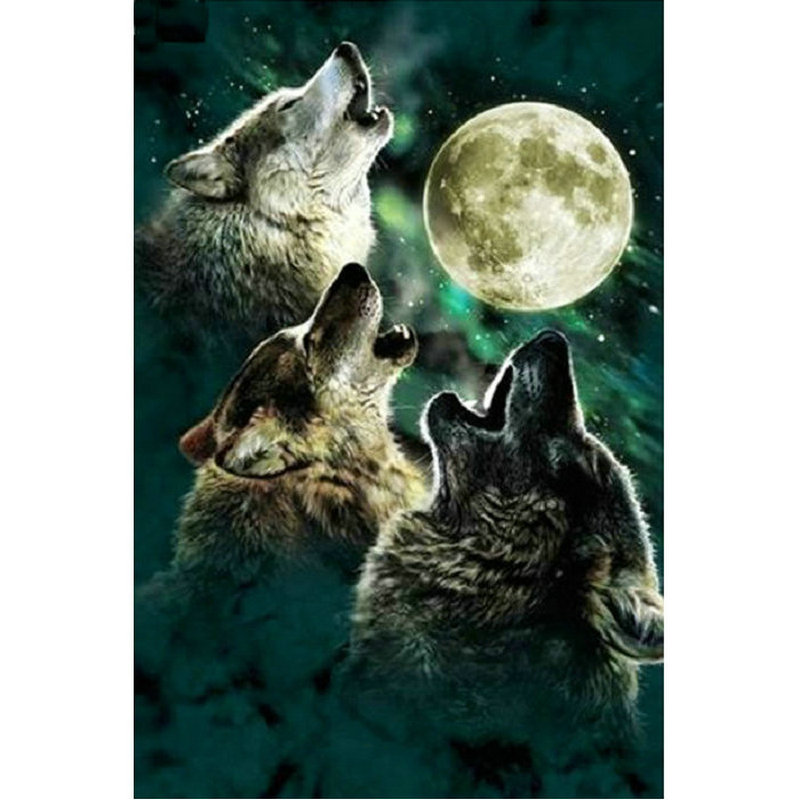 5D DIY Diamond Painting Cross Stitch wolfs moon Full square Diamond Embroidery animals Home Decoration Mosaic Painting Gift thumbnail