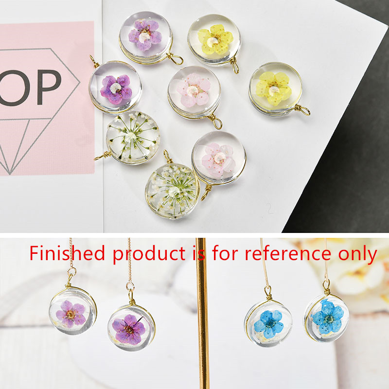 Min order 10pcs/lot color flowers core decoration geometry rounds shape glass Copper charms diy jewelry pendant accessory ...