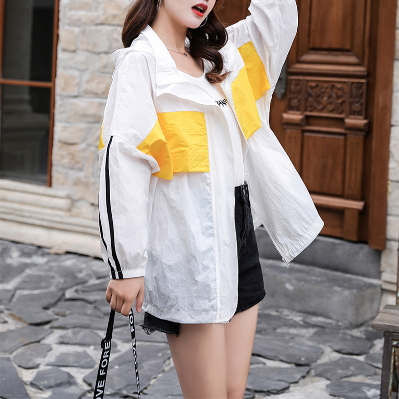 Women's Hooded   Jackets   Summer Causal windbreaker Women   Basic     Jackets   Coats Sweater Zipper Lightweight   Jackets   Sunscreen Famale