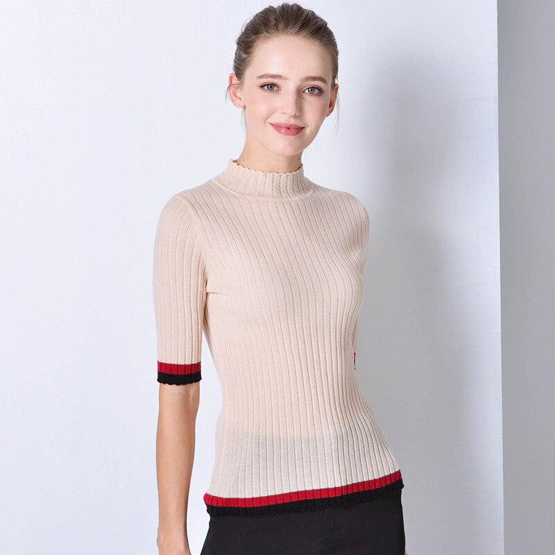 Beige maglioni delle donne di trasporto a collo alto fem me ponticello stile Coreano pullover 2019 di autunno vestiti di inverno lavorato a maglia top più il formato slim fit