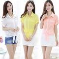 2016 nuevas mujeres de verano camisa de gasa camisa de gasa vestido yardas grandes de manga corta para mujer delgada de moda venta caliente venta al por mayor