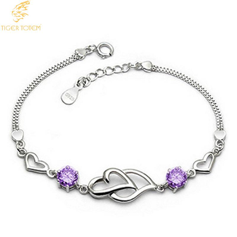 f24eb5998ece Tiger Totem moda pulsera popular circón corazón blanco púrpura encanto  mujeres brazaletes pulseras mujer envío libre