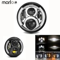 Marloo 2Pcs 7 Inch LED Headlight H4 H13 Halo DRL Signal Headlamp For Car Lada 4x4