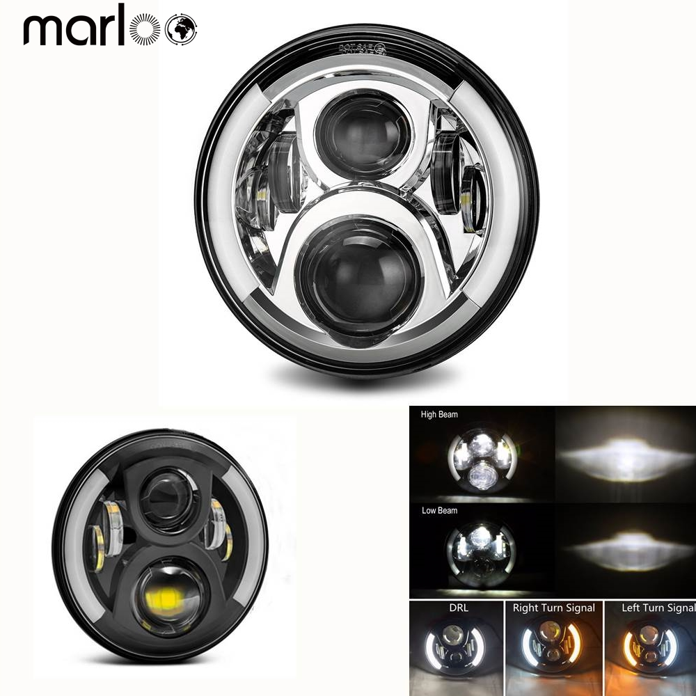 Marloo 2Pcs 7 Inch LED Headlight H4 H13 Halo DRL Signal Headlamp For Car Lada 4x4 urban Niva Jeep JK TJ Defender Hummer H1 H2 h4 plug 7 inch headlamp offroad 7 led headlight driving for jk wrangler defender 4x4 off road lada niva 4x4 suzuki samurai