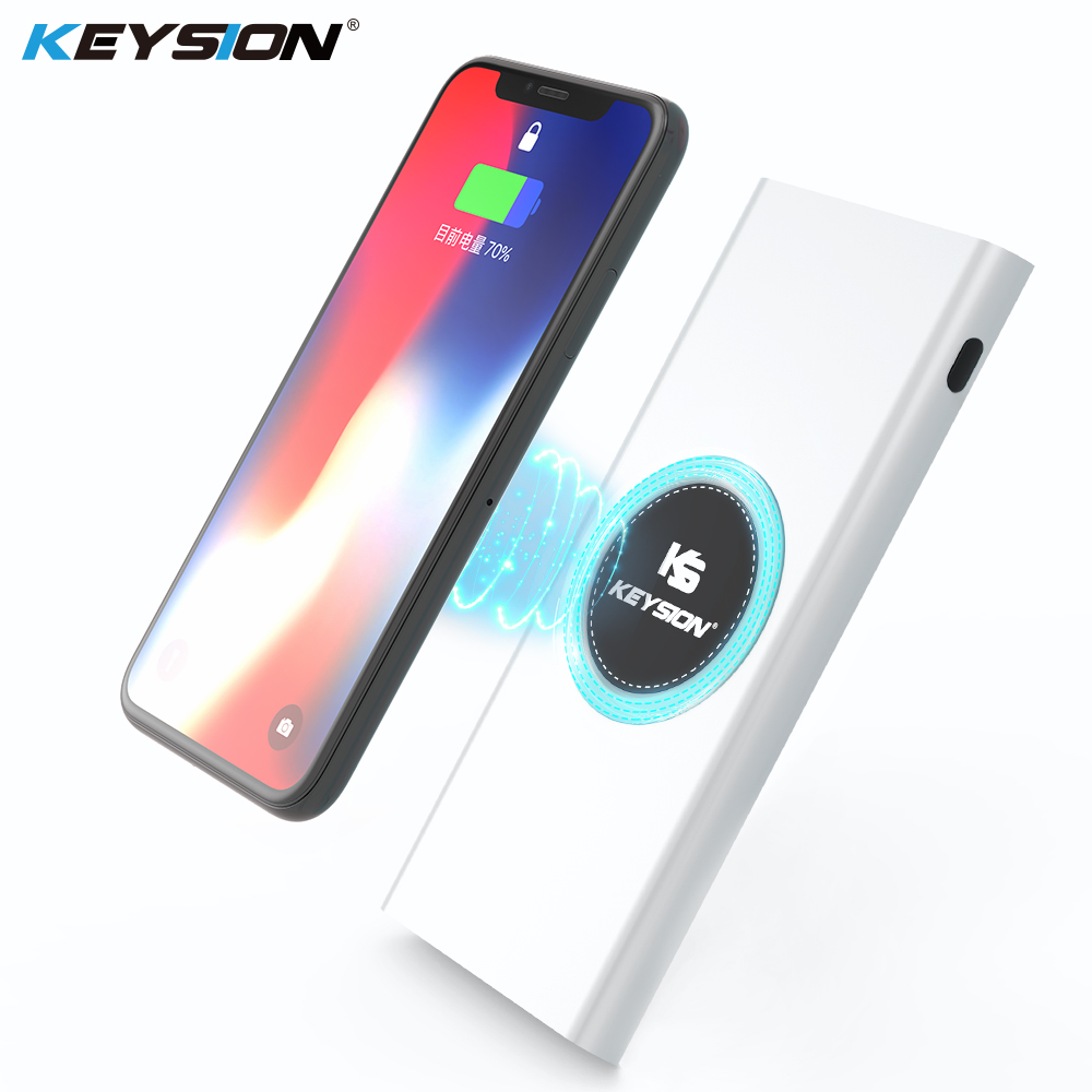 KEYSION 10000mAh Qi wireless charger Power Bank Fast Charging Phone External Battery Metal Powerbank for iPhone X 8 S8 S9 Mix 2S