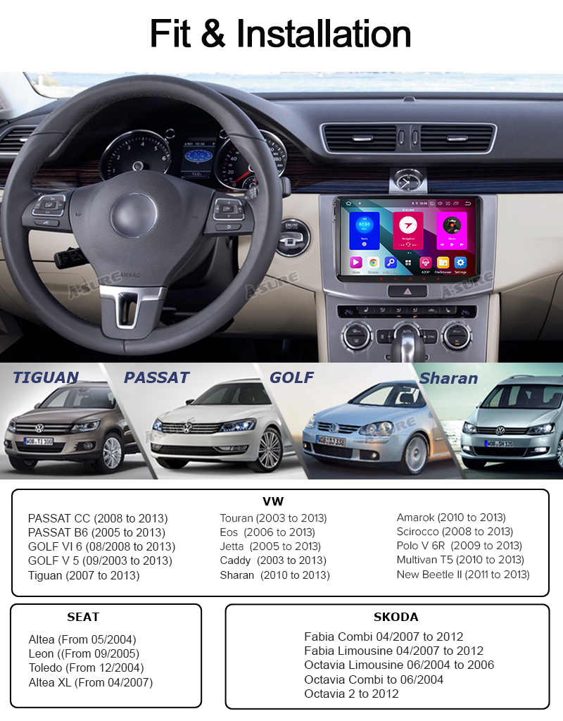 """Android 9 VW Polo Golf Passat Caddy Transporter 9""""Voll IPS 8 Core GPS DAB + WIFI 4G 46"""
