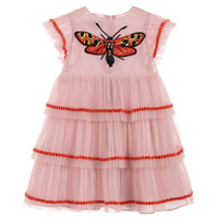 Kids Girls Princess Dresses Ruffle Sleeves Embroidery Butterfly Dress Baby Girls Birthday Party Outfits Children Clothing CA957