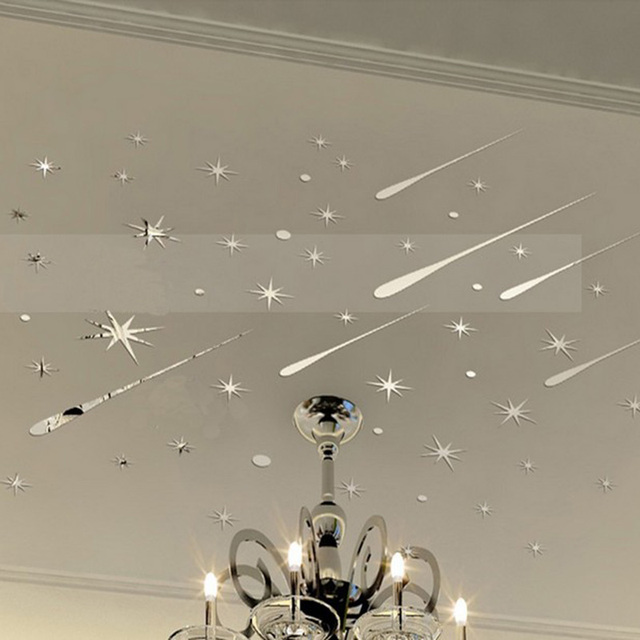 3D Meteor Stars Universe Shooting Shiny Star Wall Sticker Reflective Wall  Decals For Home Decoration Mirrors